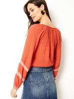 Kadın Turuncu İşlemeli Uzun Kollu Bluz