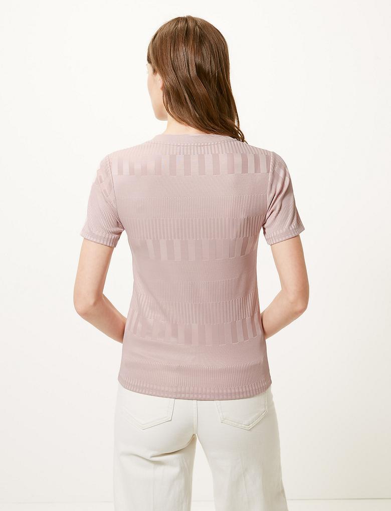 Pembe Yuvarlak Yaka Kısa Kollu T-Shirt