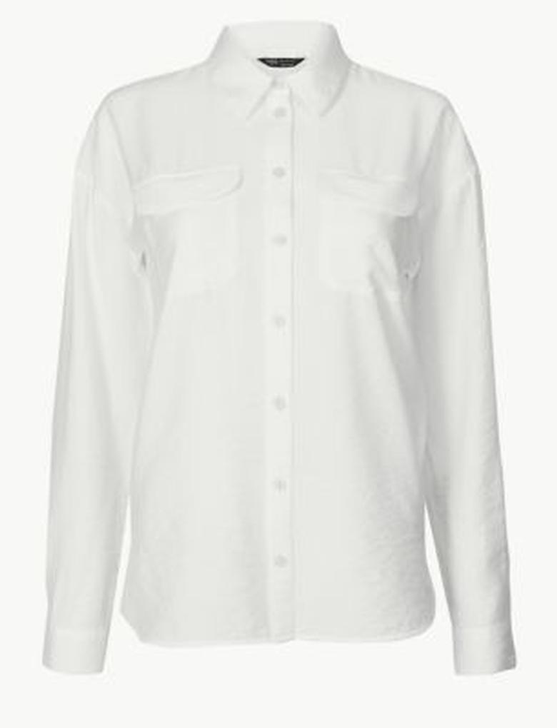 Kadın Bej Düğme Detaylı Uzun Kollu Gömlek