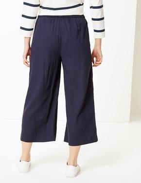 Kadın Lacivert Wide Leg Kısa Pantolon