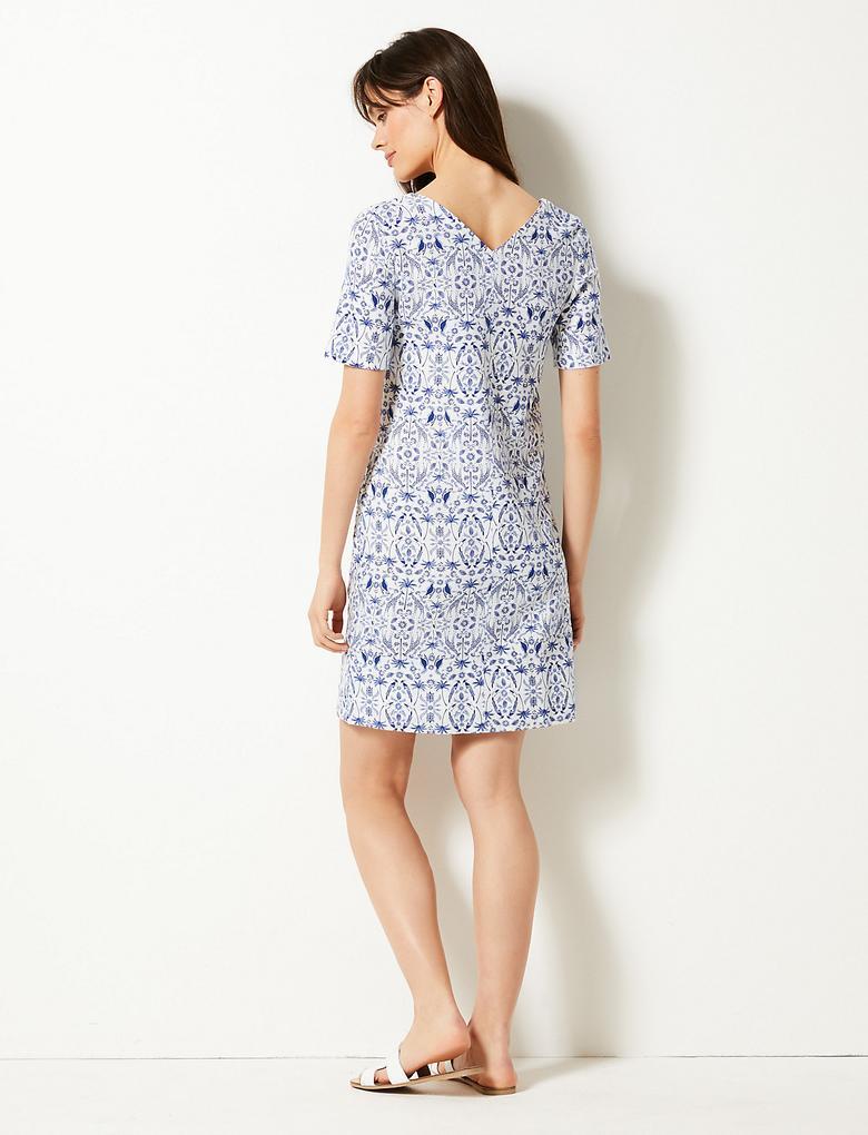 Kadın Mavi Desenli Kısa Kollu Elbise