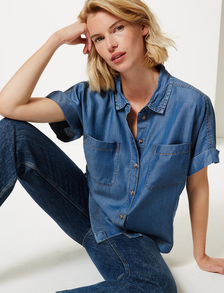 Kadın Mavi Düğme Detaylı Kısa Kollu Gömlek