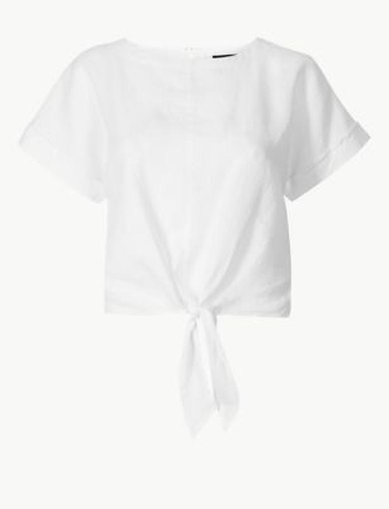 Kadın Beyaz Saf Keten Kısa Kollu Bluz