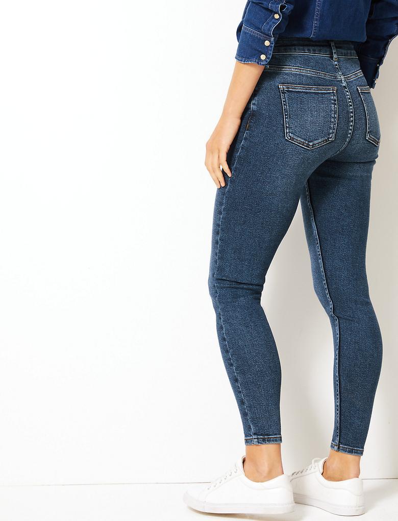 Yüksek Belli Skinny Leg Jean Pantolon