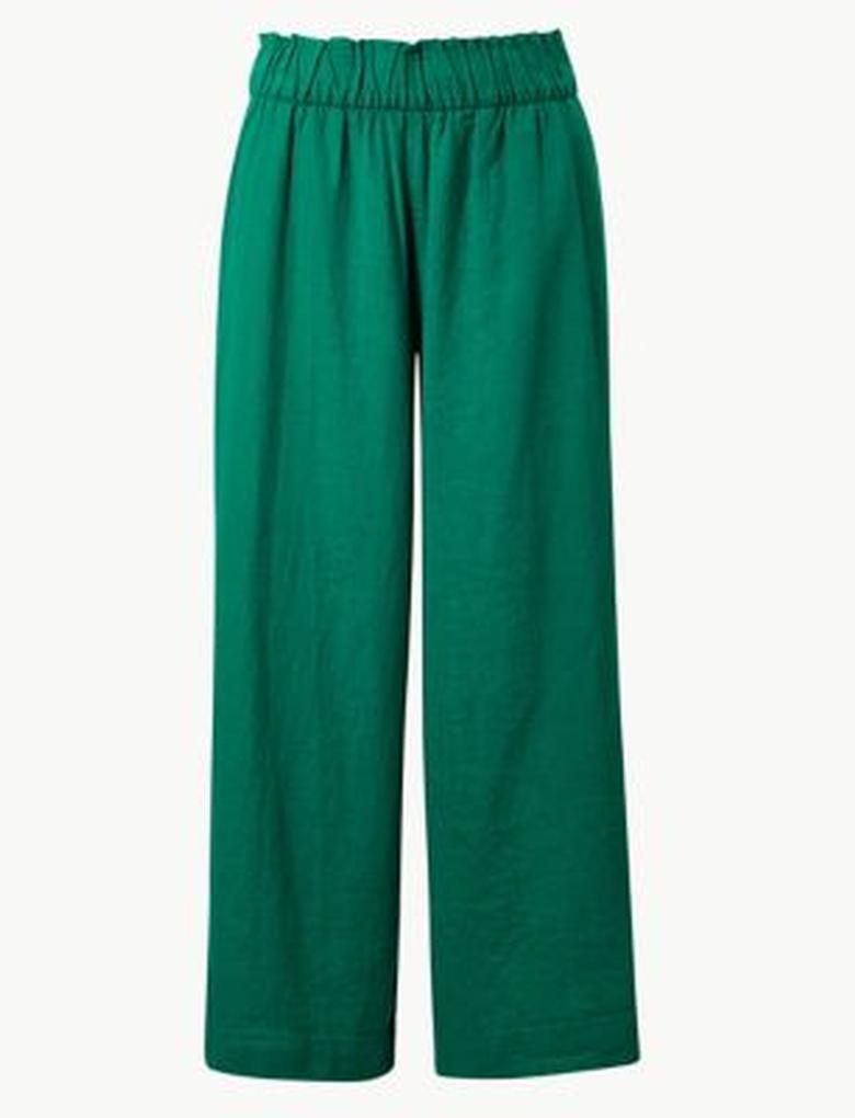 Yeşil Wide Leg Kısa Pantolon
