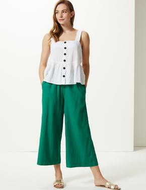Kadın Yeşil Wide Leg Kısa Pantolon