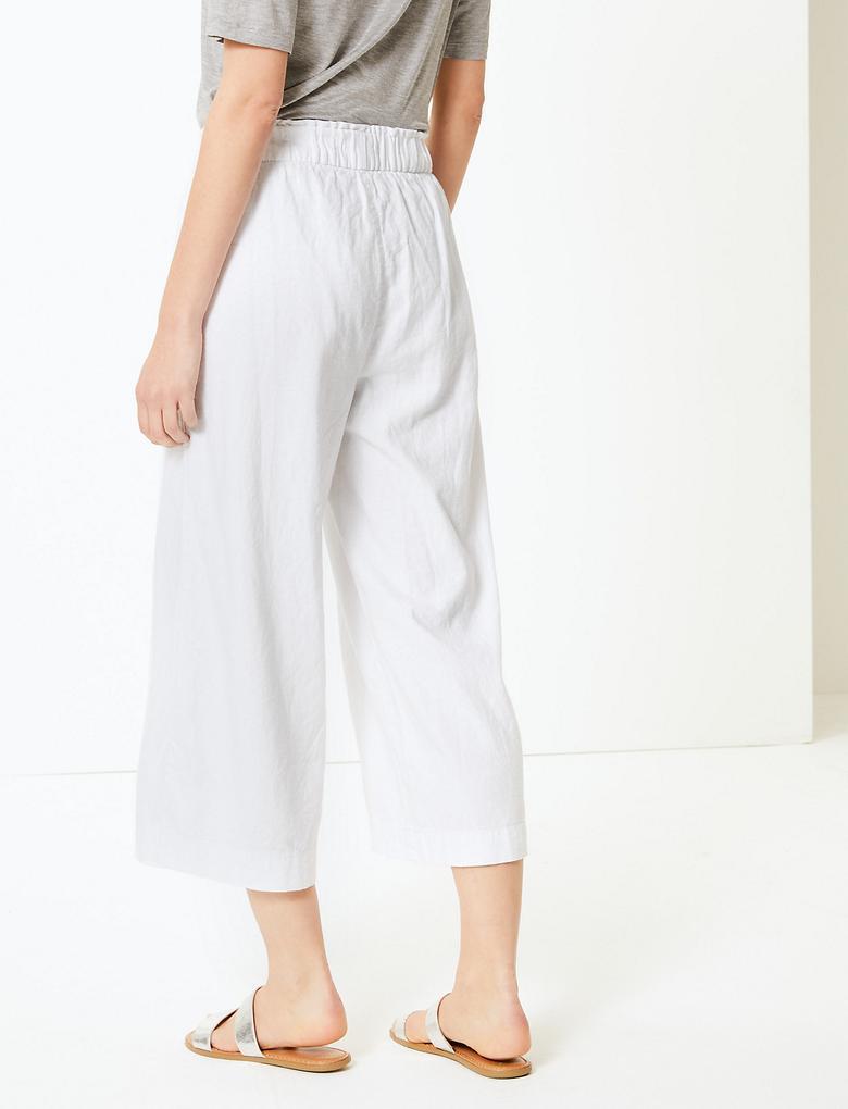 Kadın Beyaz Wide Leg Kısa Pantolon