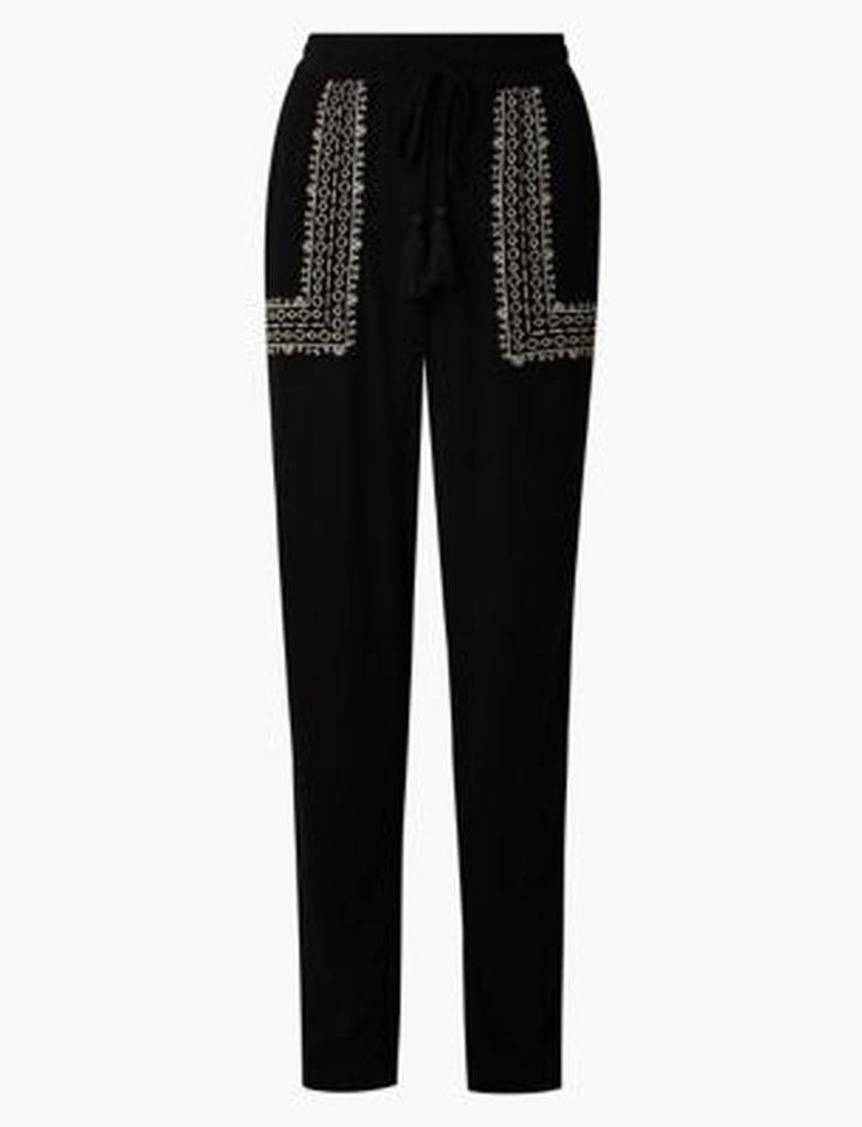 Kadın Siyah İşlemeli Peg Pantolon