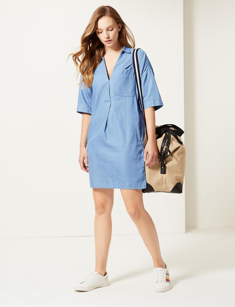 Kadın Mavi Kısa Kollu Elbise