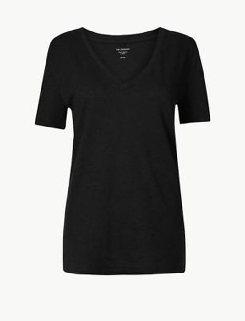 Pamuklu V Yaka Straight Fit T-Shirt