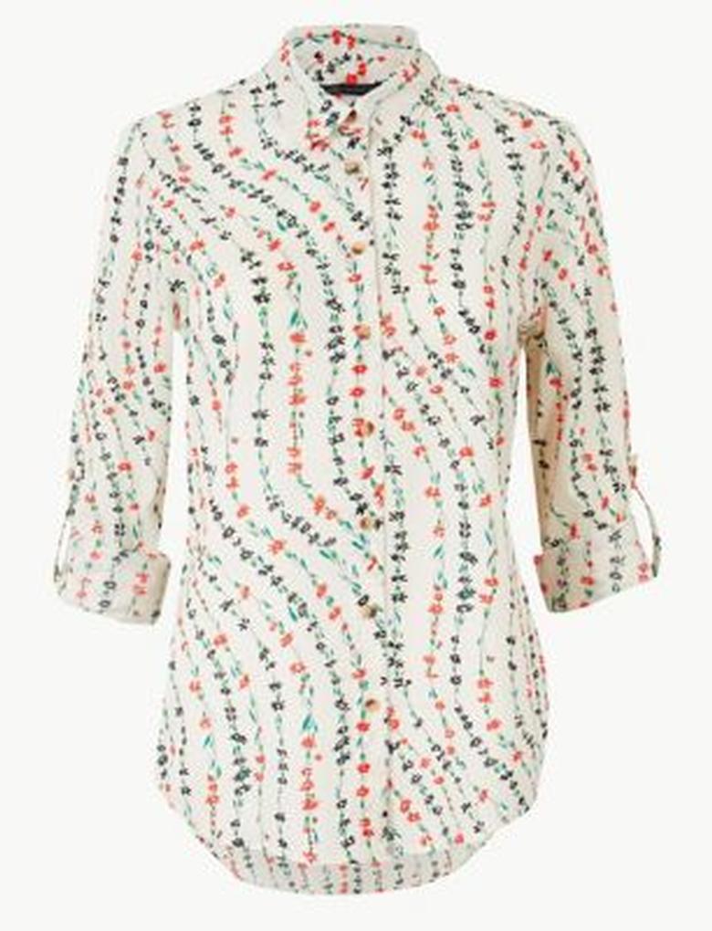 Krem Çiçek Desenli Uzun Kollu Gömlek