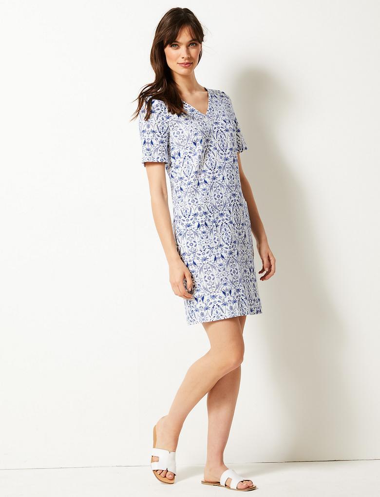 Mavi Desenli Kısa Kollu Elbise