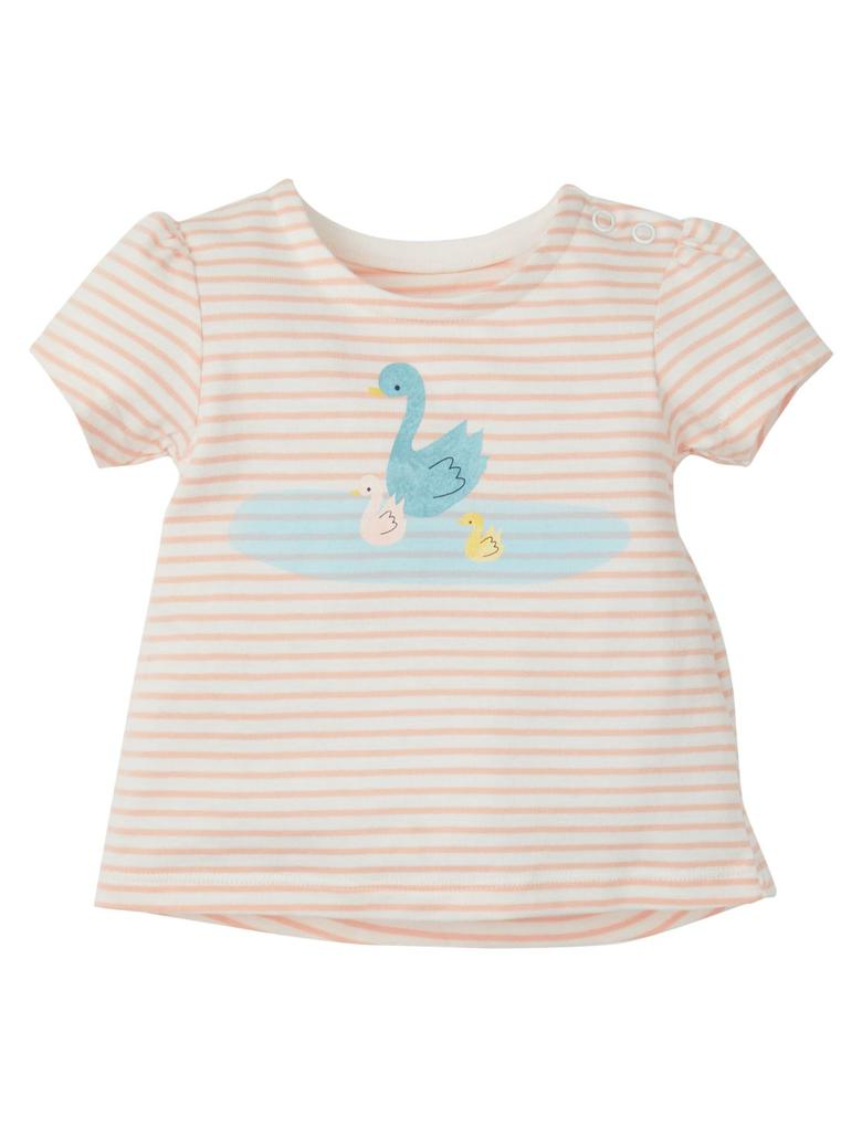 Saf Pamuklu Çizgili Kuğu Desenli T-Shirt