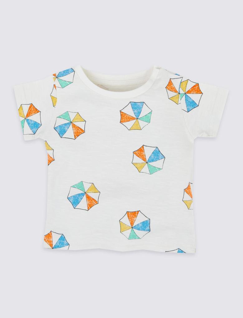 Bebek Multi Renk Saf Pamuklu Desenli  T-Shirt