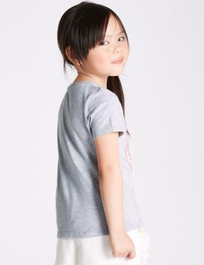 Saf Pamuklu Flamingo Desenli T-Shirt