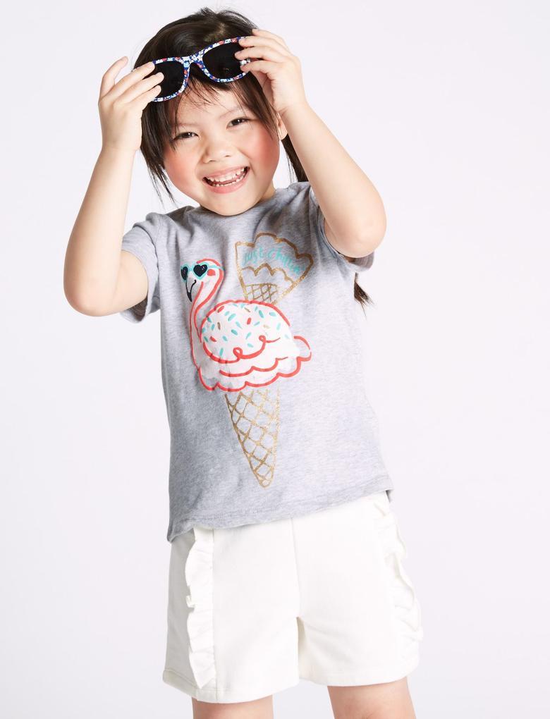 Kız Çocuk Gri Saf Pamuklu Flamingo Desenli T-Shirt