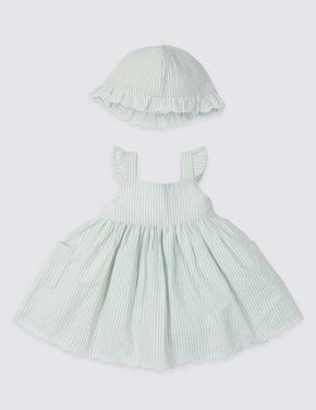2 Parça Çizgili Elbise ve Şapka Takımı