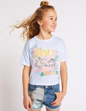 Kız Çocuk Beyaz Saf Pamuklu Cuba T-Shirt