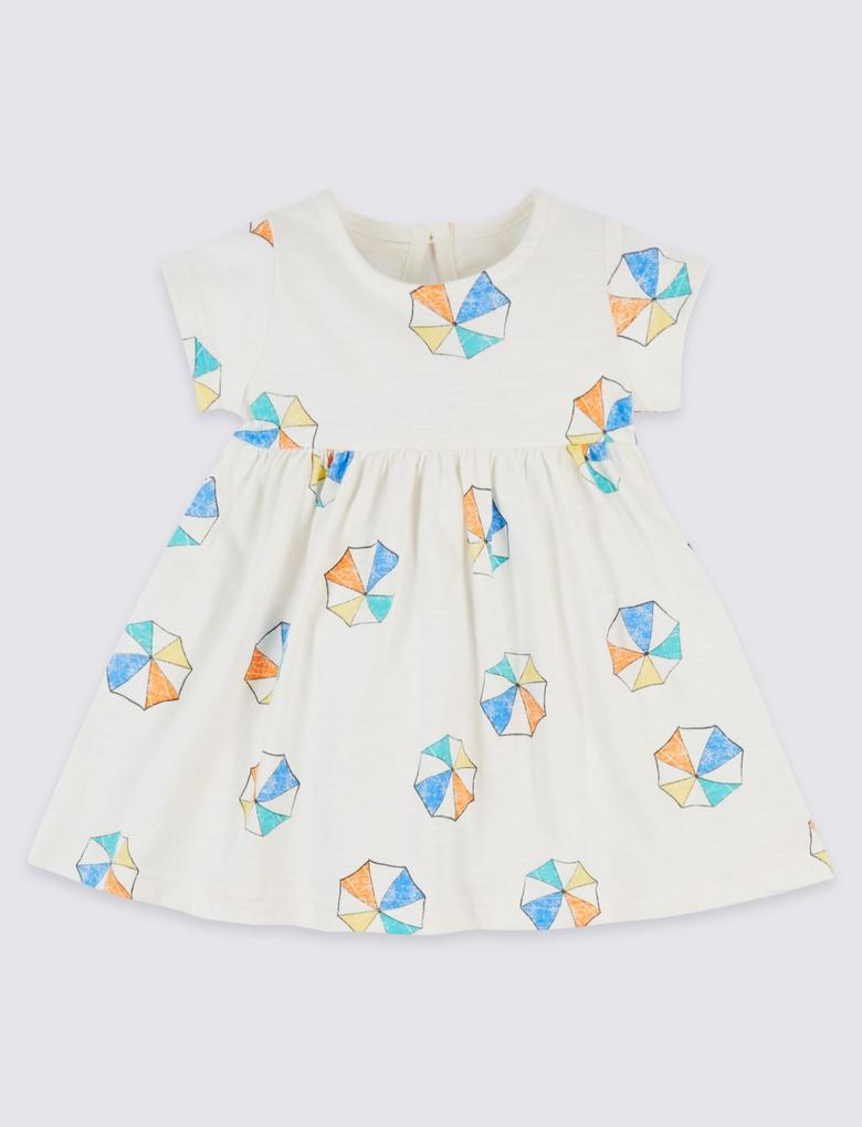 Beyaz Saf Pamuklu Desenli Jarse Elbise