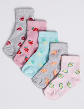 Freshfeet ™ Teknolojili Meyve Desenli 5 Çift Çorap