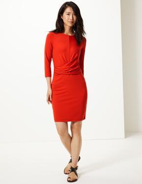 Kadın Turuncu 3/4 Kollu Bodycon Mini Elbise