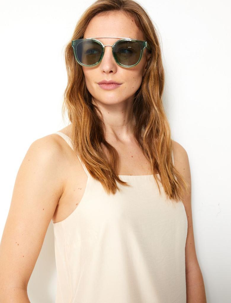 Kadın Yeşil Desenli Çerçeveli Aviator Güneş Gözlüğü