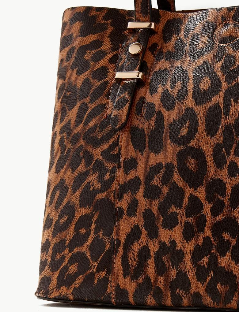 Kadın Kahverengi Desenli Tote Çanta