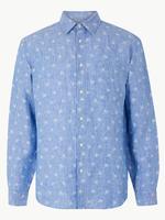 Mavi Saf Keten Palmiye Desenli Gömlek