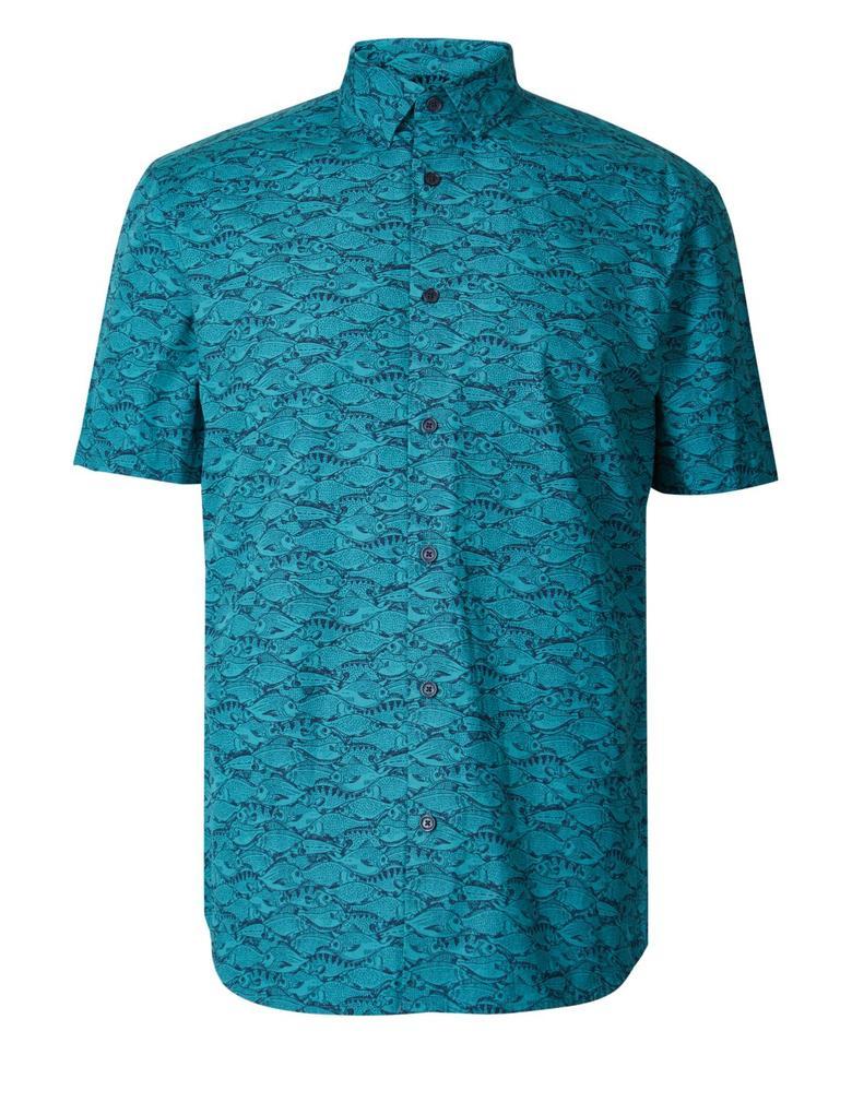 Yeşil Saf Pamuklu Balık Desenli Gömlek