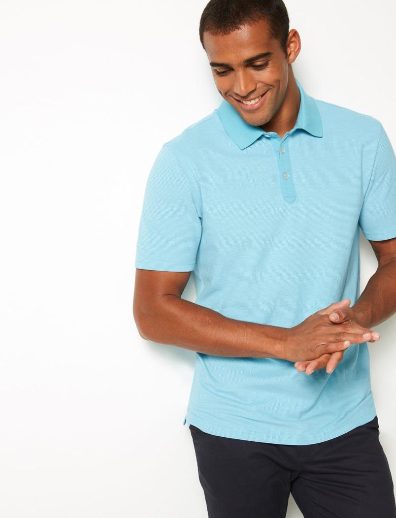 Pamuklu Çizgili Polo Yaka T-Shirt