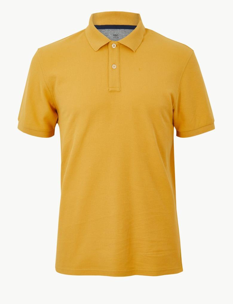 Erkek Sarı Saf Pamuklu Polo Yaka T-Shirt
