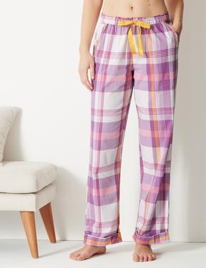 Pamuklu Ekose Pijama Altı