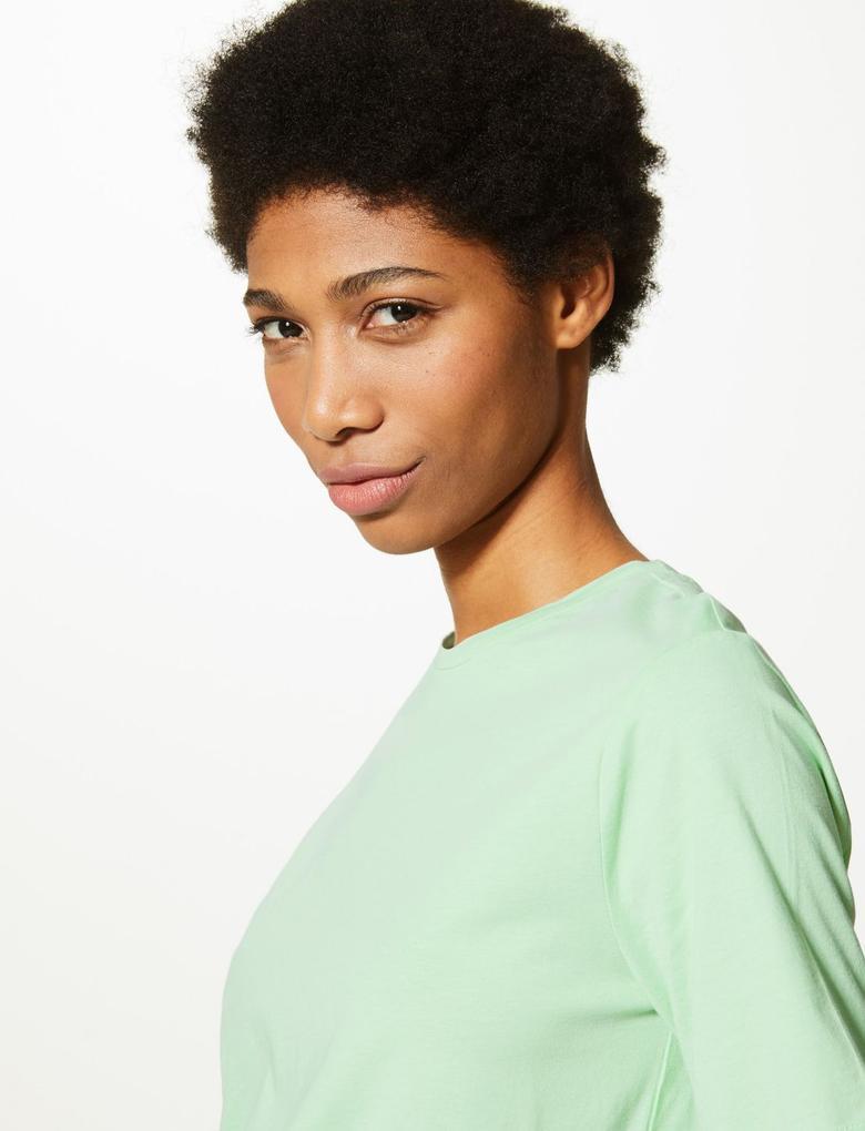 Kadın Yeşil Saf Pamuklu Straight Fit T-Shirt