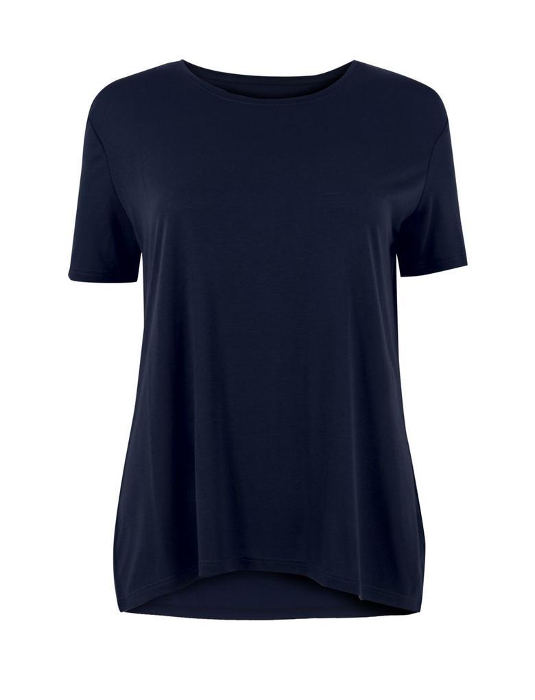 Kadın Lacivert Yuvarlak Yaka Kısa KolluT-Shirt