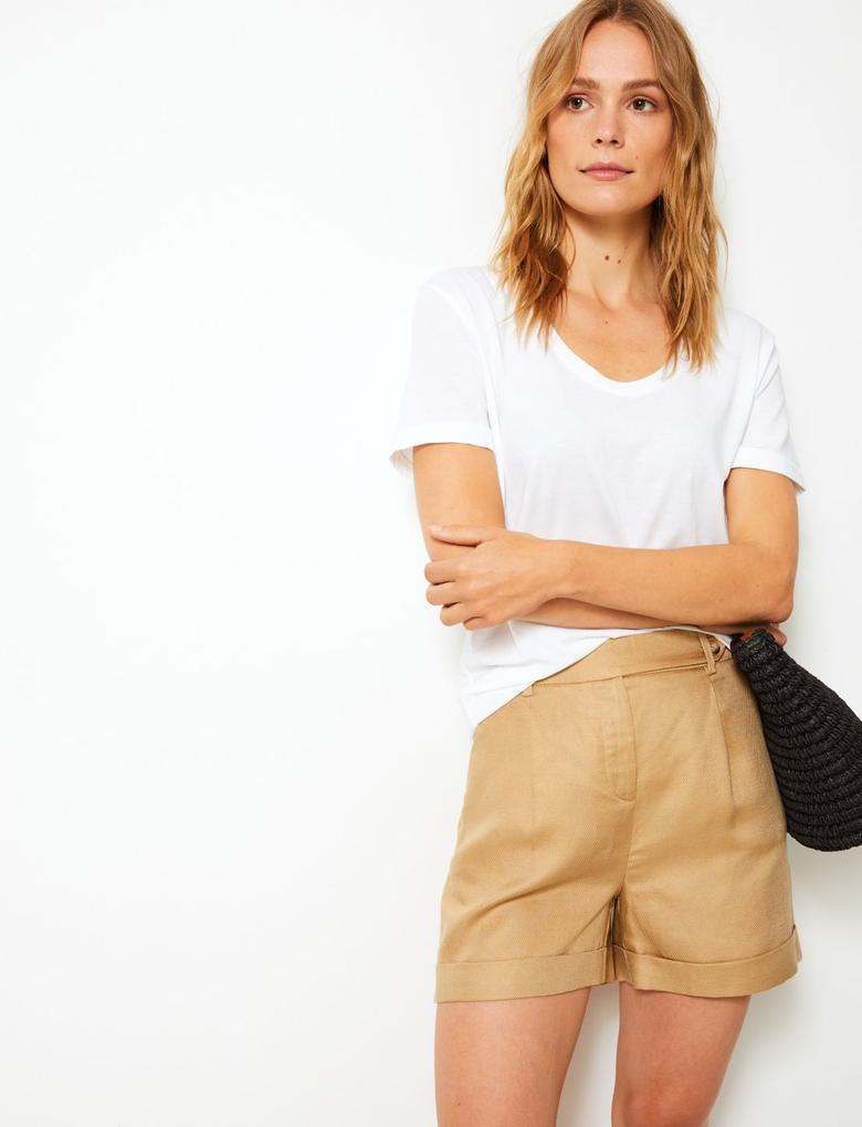 Beyaz Saf Pamuklu Kısa Kollu T-Shirt