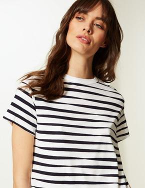 Saf Pamuklu Çizgili T-Shirt Elbise