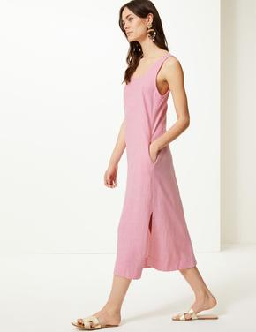 Keten Midi Elbise