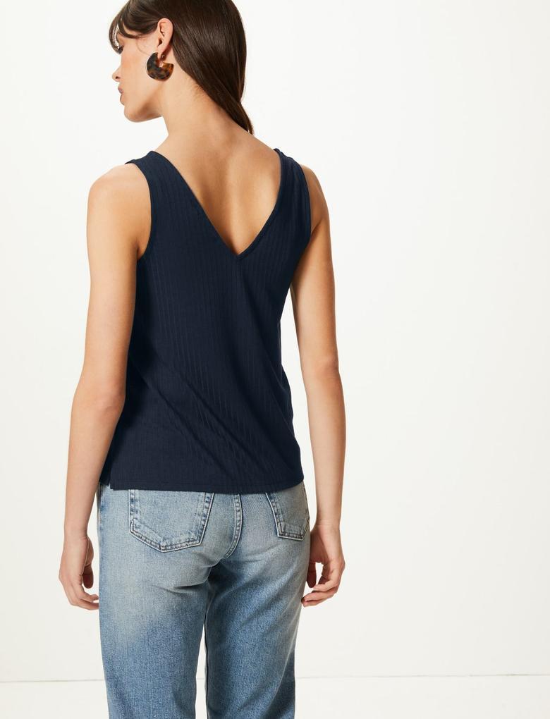 Kadın Lacivert V Yaka Kolsuz Bluz