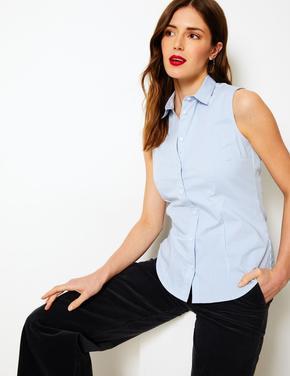 Mavi Çizgili Kolsuz Gömlek
