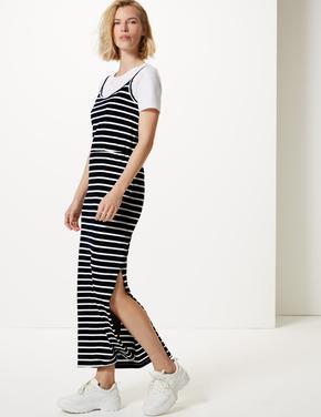 Saf Pamuklu Çizgili Maxi Elbise