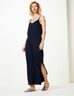 Kadın Lacivert Saf Pamuklu Maxi Elbise