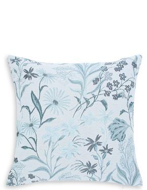 Mavi Çiçek Desenli Jakarlı Yastık