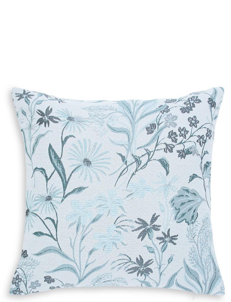 Ev Mavi Çiçek Desenli Jakarlı Yastık