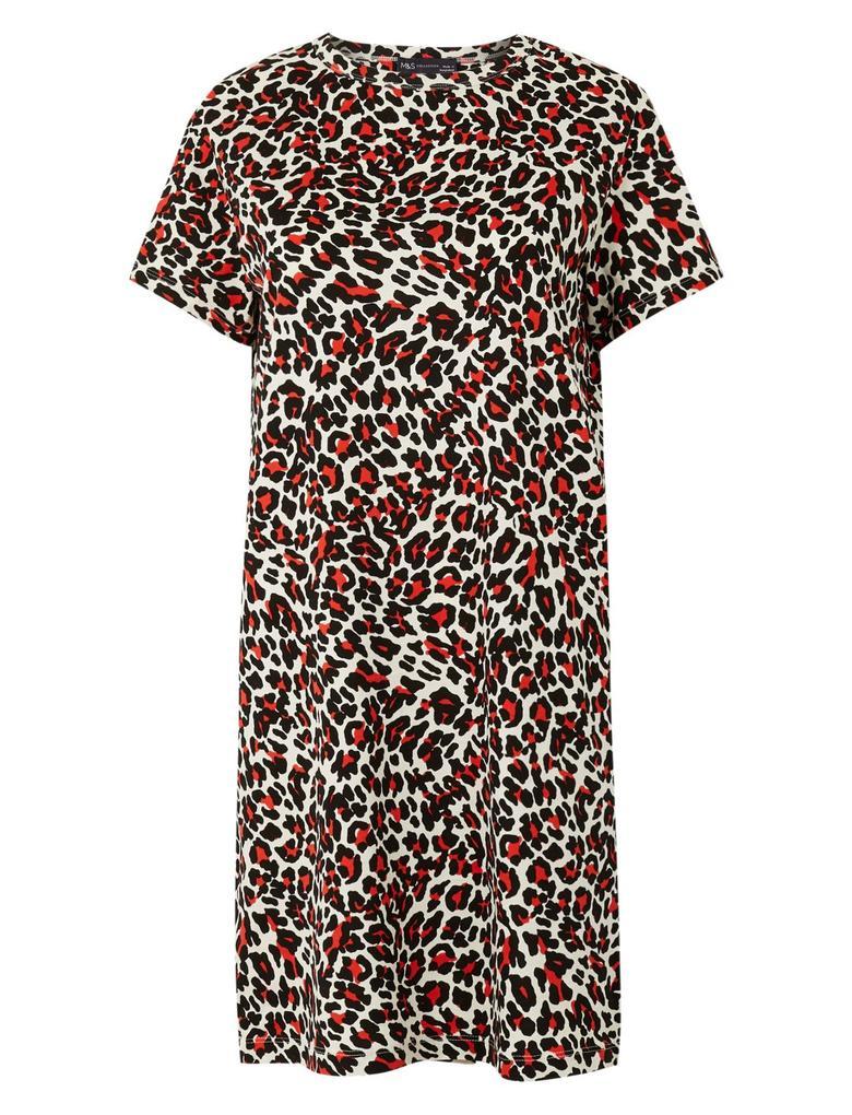 Kadın Krem Saf Pamuklu Desenli T-Shirt Elbise