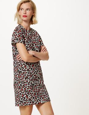 Saf Pamuklu Desenli T-Shirt Elbise