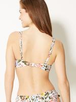 Kadın Beyaz Çiçek Desenli Plunge Bikini Üstü
