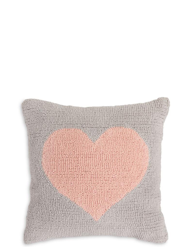 Ev Gri Kalp Desenli Yastık
