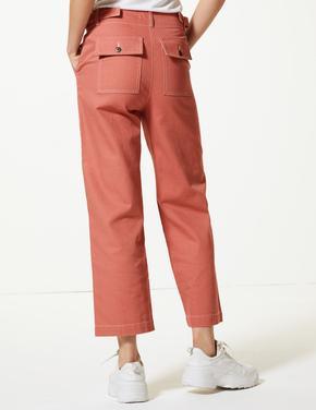 Saf Pamuklu Wide Leg Pantolon