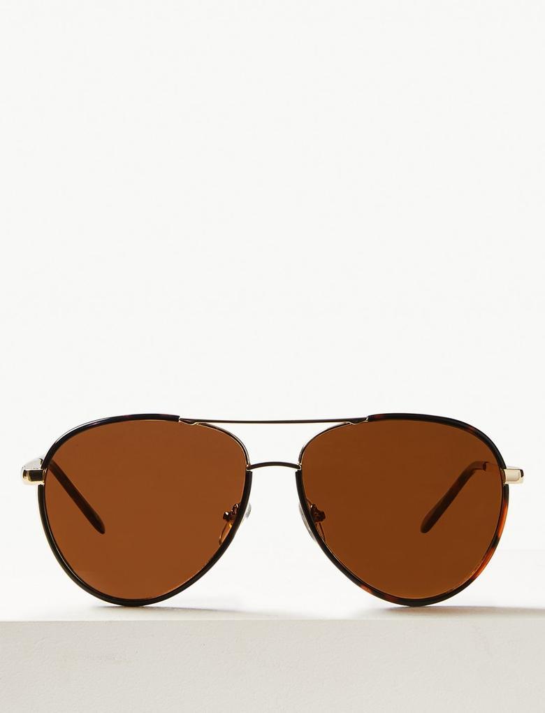 Kadın Kahverengi Aviator Güneş Gözlüğü
