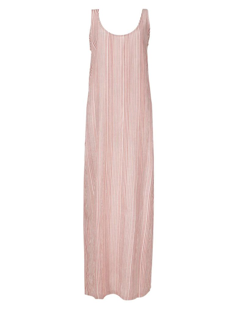 Çizgili Yuvarlak Yaka Maxi Elbise